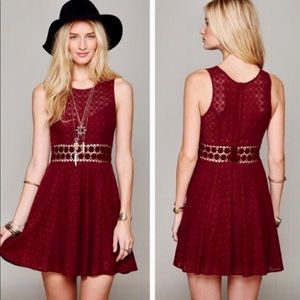 Free People Daisy Waist Floral Dress Burgundy NWOT